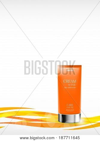 Skin moisturizer cosmetic ads template with orange realistic container on light wavy dynamic curved lines background. Vector illustration
