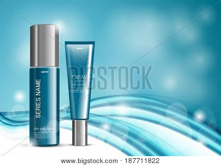 Skin moisturizer cosmetic ads template with turquoise realistic packages and wavy soft dynamic elegant lines on light blurred background. Vector illustration