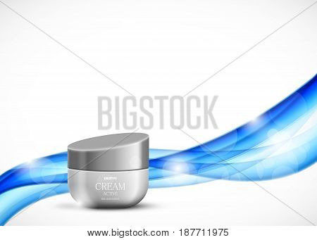 Skin moisturizer cosmetic ads template with gray realistic container on wavy soft smooth elegant bright lines background. Vector illustration