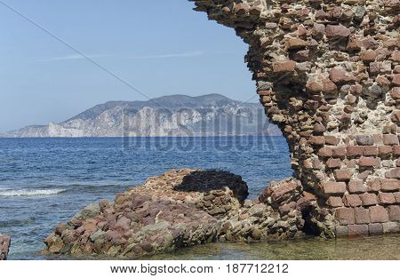 Ruins of tower emerges from the sea