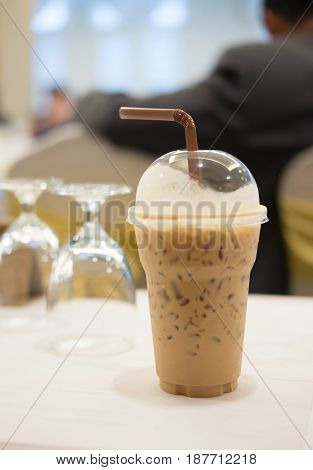 Iced cocoa iced coffee (cappucino) or iced chocolate in the conference room
