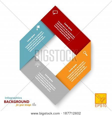 Infographic set against a bright background in the form of a rhombus