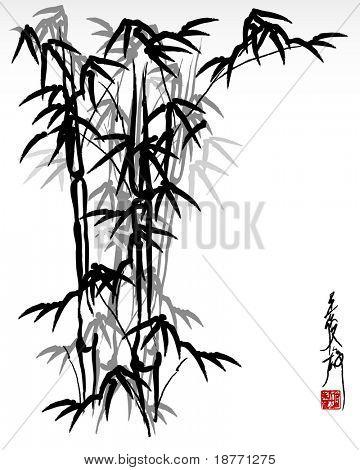 illustration of oriental bamboo painting
