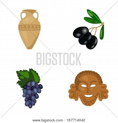 Greece, olive, branch, vase .Greece set collection icons in cartoon style vector symbol stock illustration .