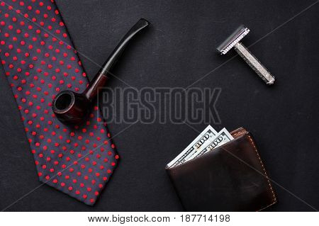 Bow Tie Leather Wallet With Money Wooden Tobacco Pipe And Razor On Black Background With Space For T