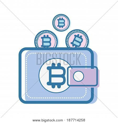 color wallet icon with bitcoin currency, vector illustration
