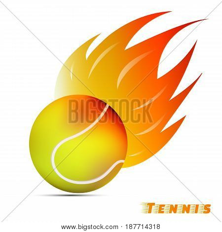 tennis ball with red orange yellow tone fire in the white background. sport ball logo design. tennis ball logo. vector. illustration. graphic design.