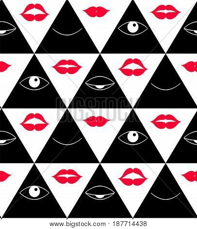 Pattern with eyes. Open and closed eyes in triangle, vector in black, white and red.