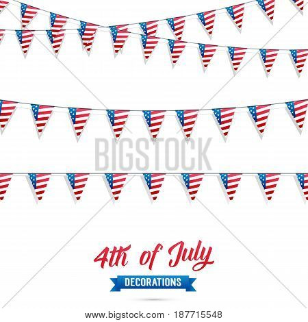 4th of July. Decoration set of USA flag garlands. Fourth of July vector illustration
