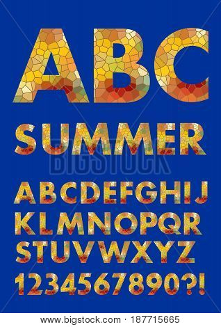 Alphabet in summer colors, mosaic texture design, polygonal fill, uppercase letters, numbers, question and exclamation mark, vector EPS 10