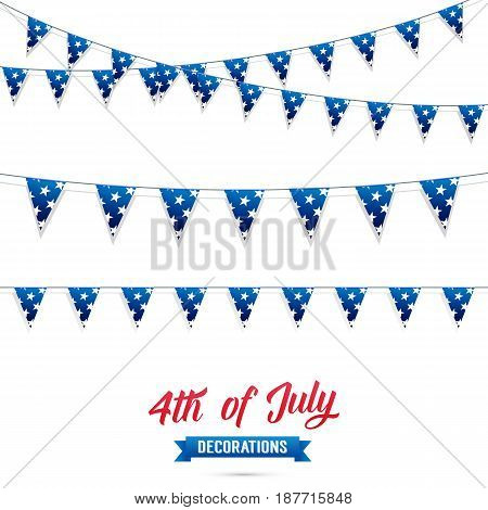 Fourth of July. Decoration set of USA flag stars garlands. 4th of July vector illustration