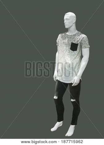 Full-length male mannequin dressed in t-shirt and ripped jeans isolated. No brand names or copyright objects.