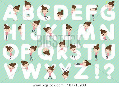 Set of various poses of Bun hair mom Pants style A to Z