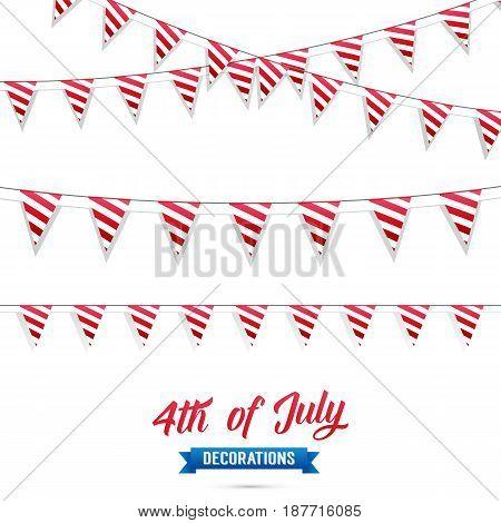 4th of July. Decoration set of USA flag stripes garlands. Fourth of July vector illustration
