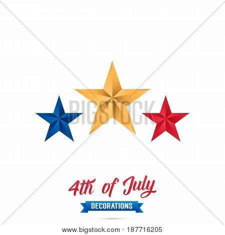 4th of July-USA Independence Day. Decoration set of red, blue, gold stars. Fourth of July vector illustration