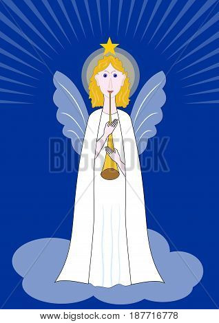 Beautiful angel with pipe standing on a cloud, symbol of christian religion and christmas, vector EPS 10