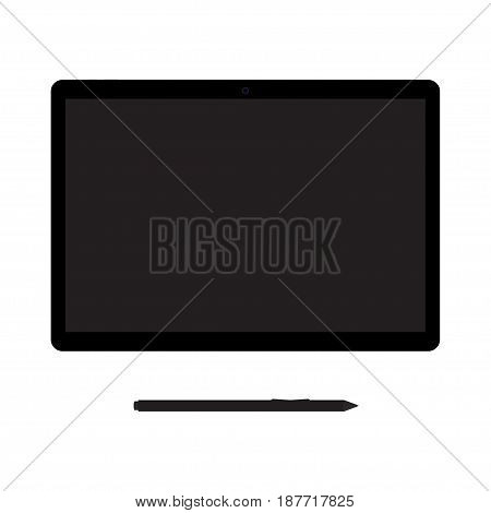 Graphic tablet with stylus. Modern device for artistic drawing and painting. Equipment for designers. Isolated on white background. Vector illustration.