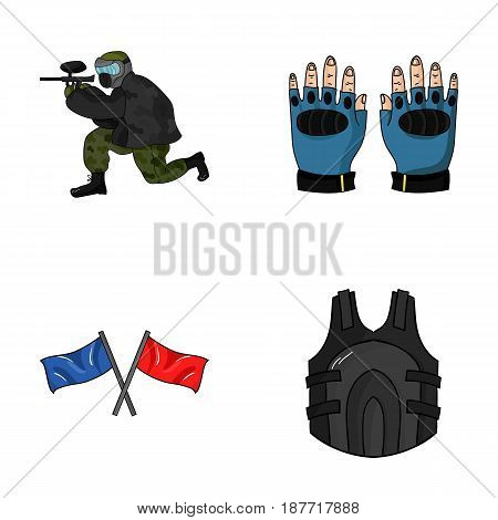 Sport, game, paintball, competition .Paintball set collection icons in cartoon style vector symbol stock illustration .