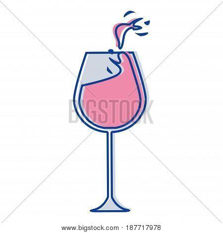glass splashing wine icon image, vector ilustration design