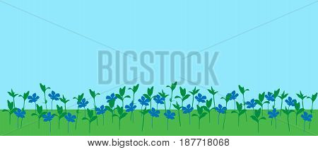 Vector illustration of meadow with grass and flowers under blue sky with space for your text
