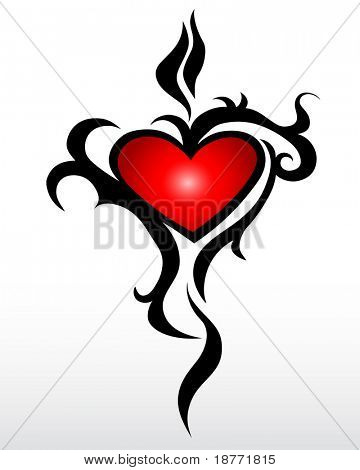 vector illustration of a tribal heart design