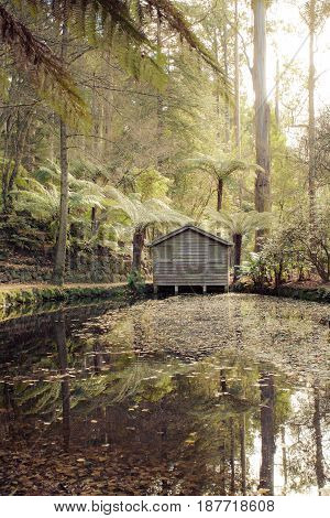A remote boat house at the Alfred Nicholas Memorial Gardens, Dandenongs, Victoria, Australia