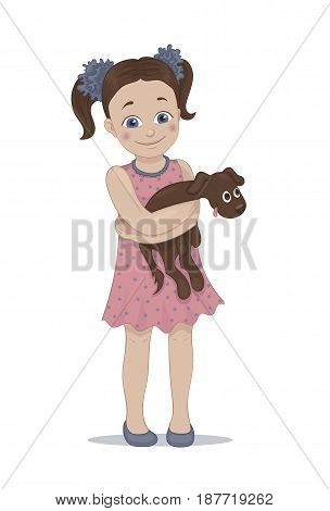 Hand drawn illustration of a cute little girl in a pink dress embracing her brown pet puppy