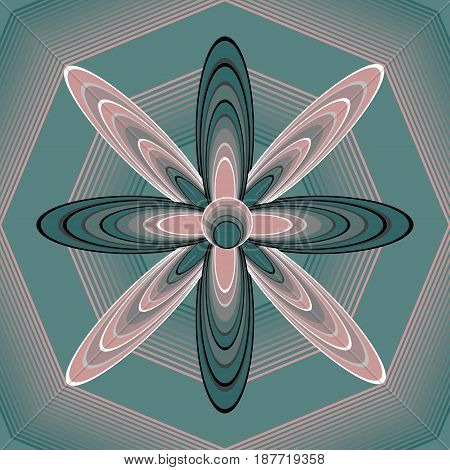 Fantasy floral shape in op-art style on polygonal structured background, 3d illusion, pink and green colors, vector EPS 10