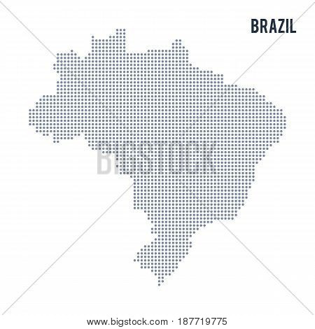 Vector Dotted Map Of Brazil Isolated On White Background .