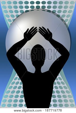 Superhero holding on his shoulders a huge metal ball, black silhouette of muscular man, vector EPS 10