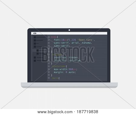 Programming and coding concept. Code on the screen laptop. Flat vector illustration