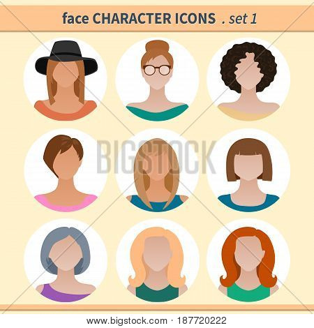 Female faces avatars. Character icons. Vector illustration set 1