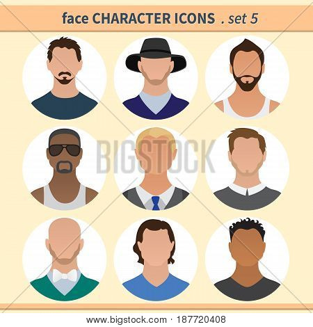 Male faces avatars. Character icons. Vector illustration set 5