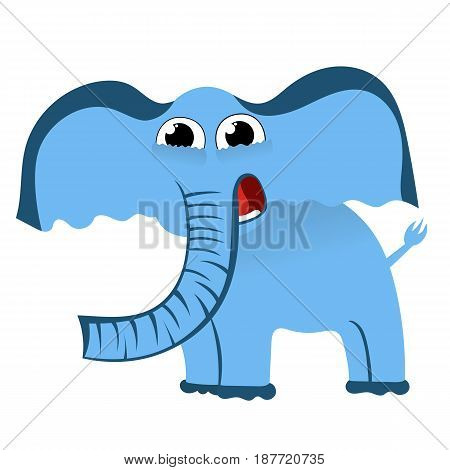 Cartoon cute character of little blue elephant. Vector illustration