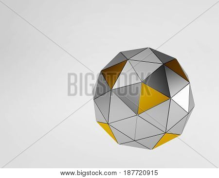 Silver and gold metal and glass spheres geometry background. Abstract 3d rendering