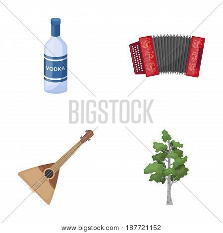 Russia, country, vodka, accordion .Russia country set collection icons in cartoon style vector symbol stock illustration .