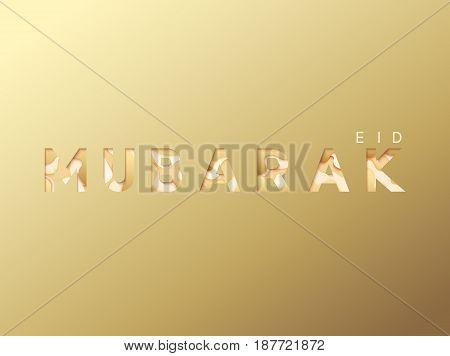 Eid mubarak greeting card gold background. Holy month of Ramadan.