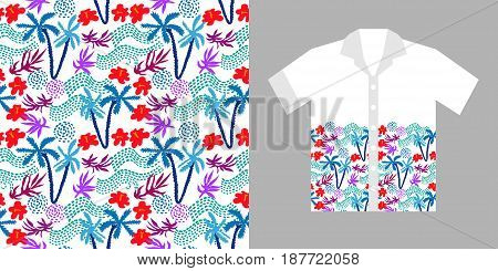 Floral print with palms and flowers on white background. Beach textile collection.