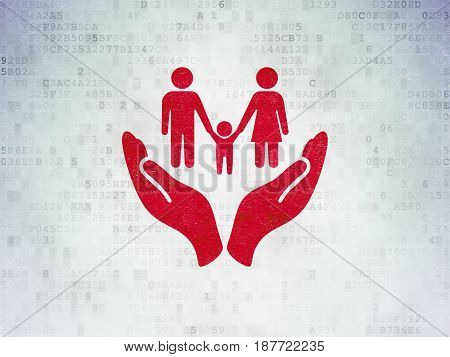 Insurance concept: Painted red Family And Palm icon on Digital Data Paper background