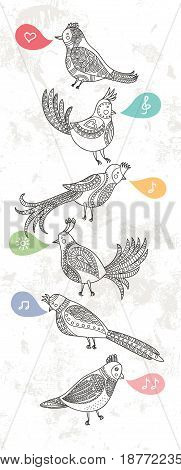 A pattern of ornamental vintage bird. The birds sing.  Vertical format.