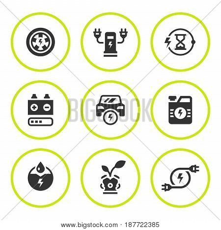 Set round icons of electric car isolated on white. Vector illustration