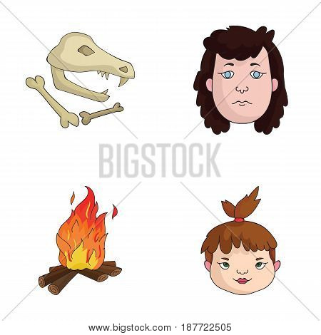 Woman, hair, face, bonfire .Stone age set collection icons in cartoon style vector symbol stock illustration .