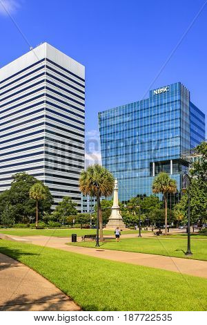Columbia, SC, USA - 09/11/2016: Modern skyscrapers opposite the capitol building in city of Columbia the State Capital of South Carolina