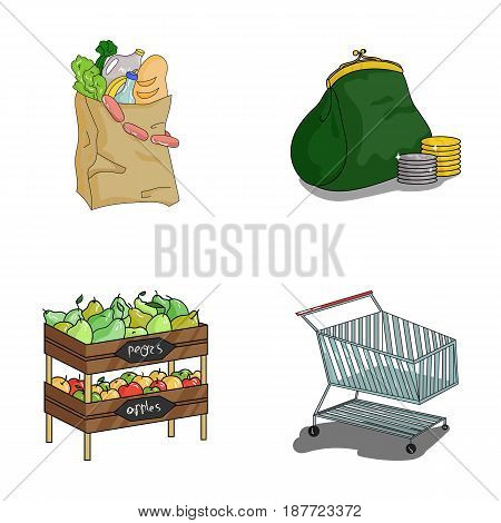 Sausages, fruit, cart .Supermarket set collection icons in cartoon style vector symbol stock illustration .