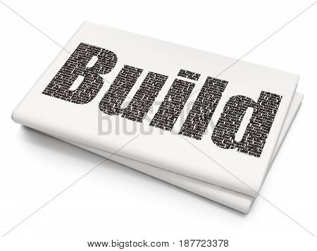 Building construction concept: Pixelated black text Build on Blank Newspaper background, 3D rendering