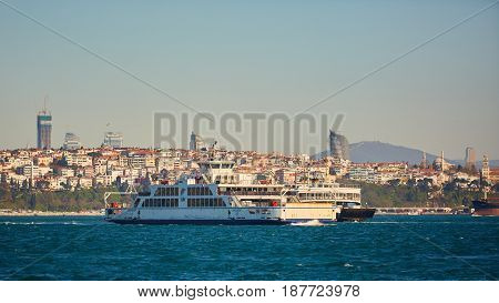 Istanbul, Turkey - 1 April, 2017: Passenger ship crossing Bosporus