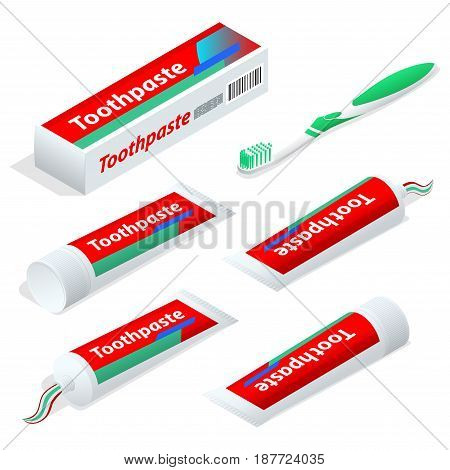 Isometric paste or gel dentifrice used with a toothbrush as an accessory to clean and maintain the aesthetics and health of teeth. Vector illustration.