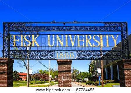 Nashville, TN, USA - 04/09/2016: Entrance archway to Fisk University in Nashville Tennessee. Founded in 1866 for former slaves by the American Missionary Association