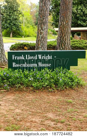 Florence, AL, USA - 04/01/2016: Frank Lloyd Wright - Rosenbaum House sign in Florence Alabama