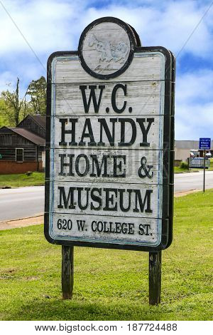 Florence, AL, USA - 04/01/2016: William Christopher Handy Birthplace sign in Florence Alabama